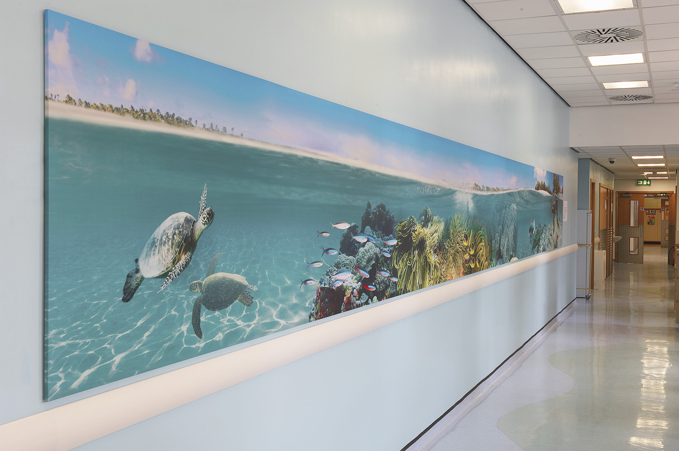 KINGS HOSPITAL Fish Frieze installed